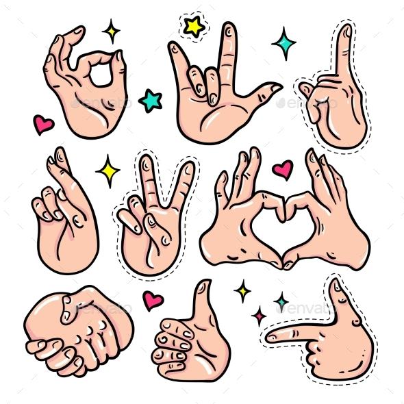 Hand Gestures - Vector Isolated Stickers Set