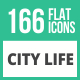 166 City Life Flat Icons - GraphicRiver Item for Sale