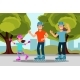 Happy Family Riding Roller Skate in Park. Outdoor - GraphicRiver Item for Sale