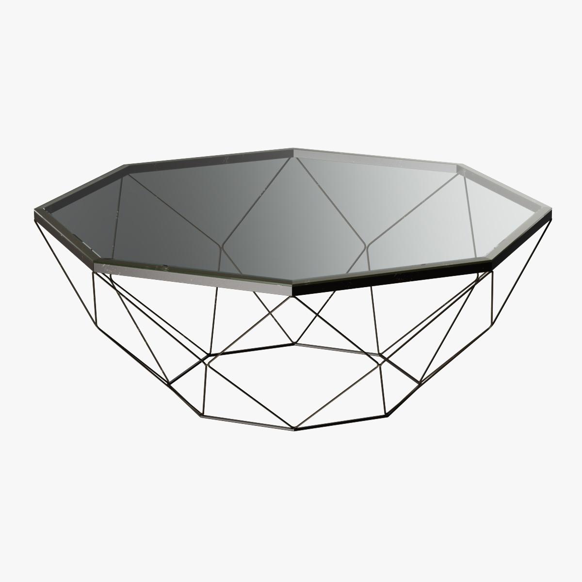 Geometric Antique Brass Coffee Table With Glass Top By Jockermax3ddd