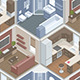 Seamless Pattern with Isometric Rooms - GraphicRiver Item for Sale