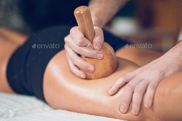 Close up of anti cellulite Madero therapy massage - Stock Photo - Images