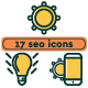 Seo Icon Line Set. Monochrome and Colorful Options