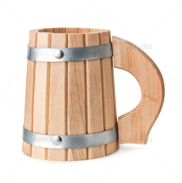 Wooden beer mug - Stock Photo - Images