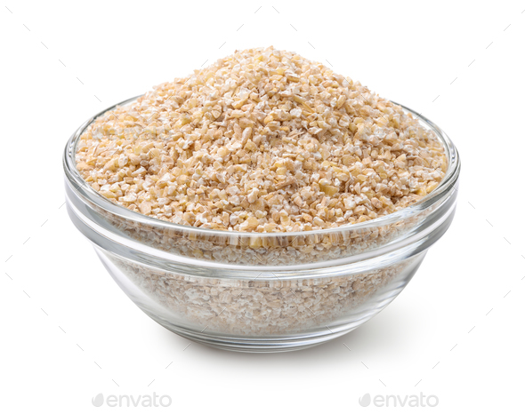 Glass bowl of barley grits - Stock Photo - Images