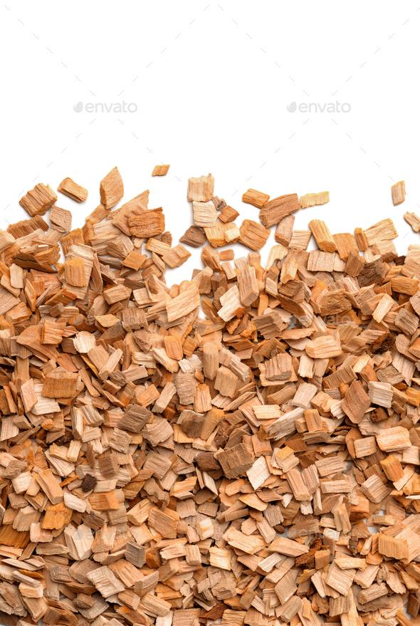 Close up of smoking woodchips - Stock Photo - Images
