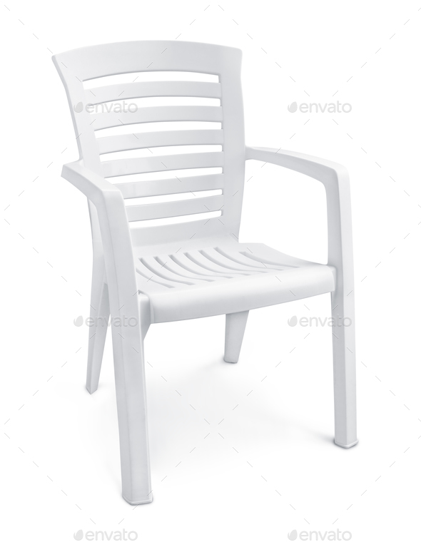 Empty white plastic chair - Stock Photo - Images