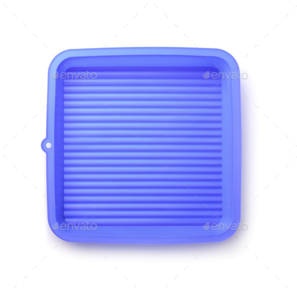 Top view of  blue silicone pan - Stock Photo - Images