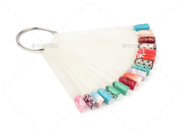 Fan of nail art polish tips samples - Stock Photo - Images