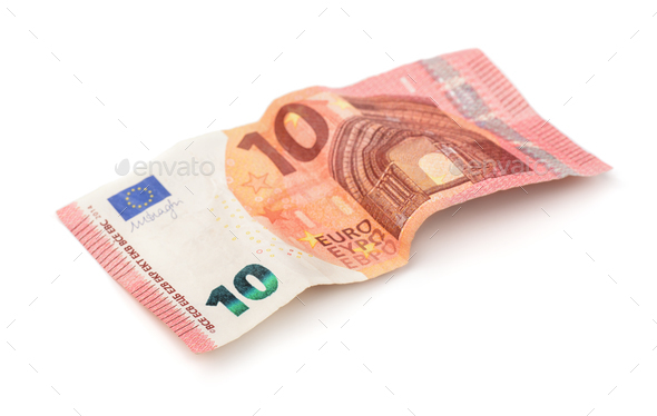 Crumpled ten euros banknote - Stock Photo - Images