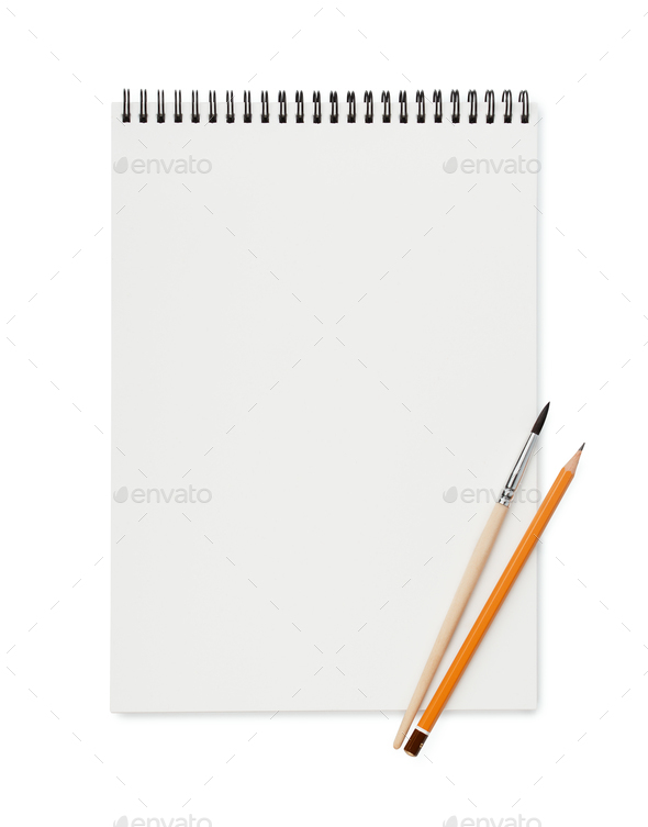 Top view of blank sketchbook with pencil and brush - Stock Photo - Images