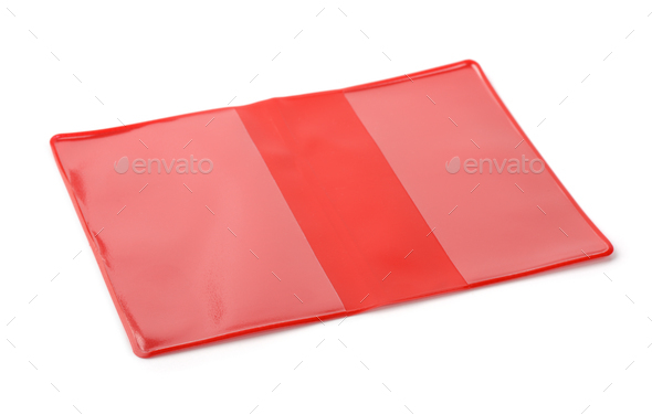 Red PVC book protective cover - Stock Photo - Images