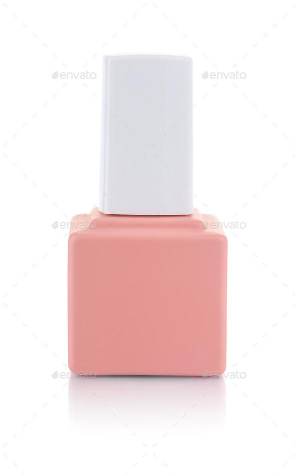 Single pink nail polish bottle - Stock Photo - Images