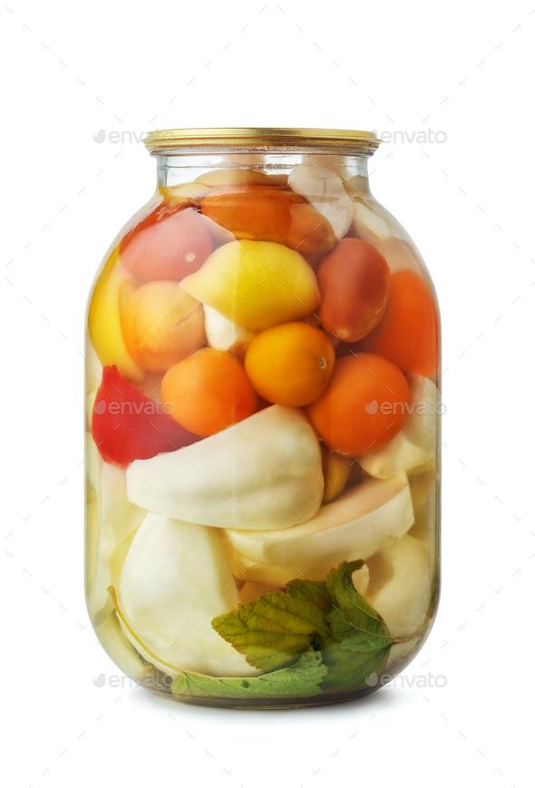 Jar of assorted pickled vegetables - Stock Photo - Images