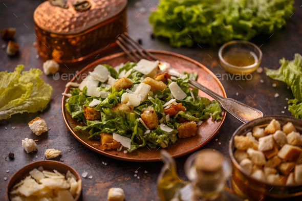 Plate of Caesar Salad - Stock Photo - Images