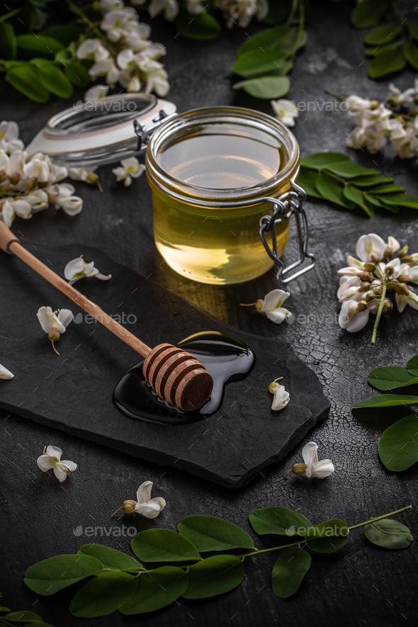 Jar of honey - Stock Photo - Images