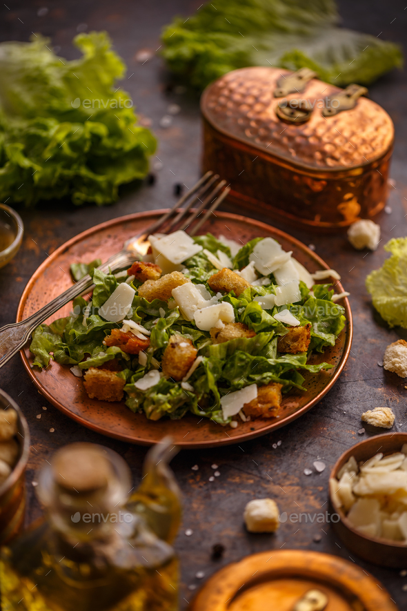 Healthy simple Caesar salad - Stock Photo - Images