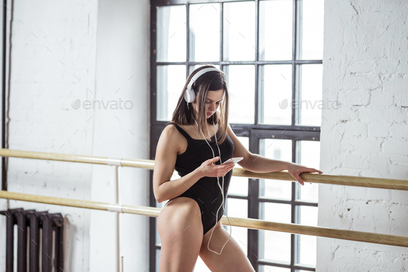 Young girl in dance studio - Stock Photo - Images