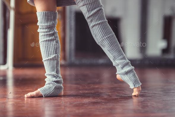 Female legs in gaiters - Stock Photo - Images