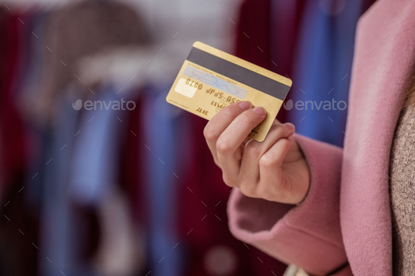 Girl with credit card - Stock Photo - Images