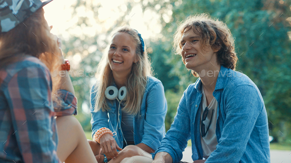 Young teenagers in the park - Stock Photo - Images