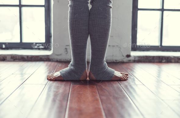Female legs in gaiters in studio - Stock Photo - Images