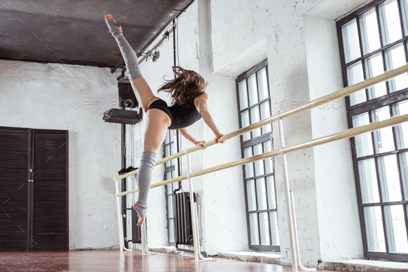 Dancer on training in dance studio - Stock Photo - Images