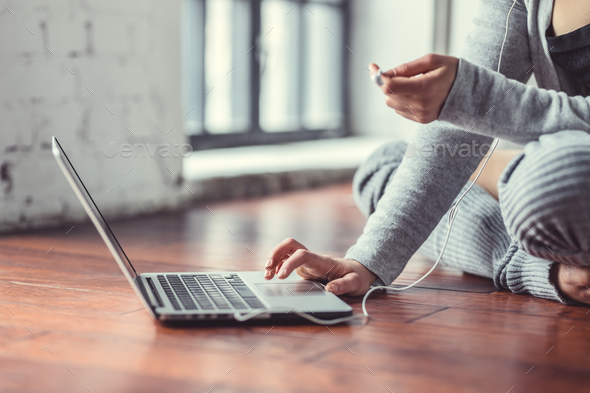 Young woman with laptop closeup - Stock Photo - Images