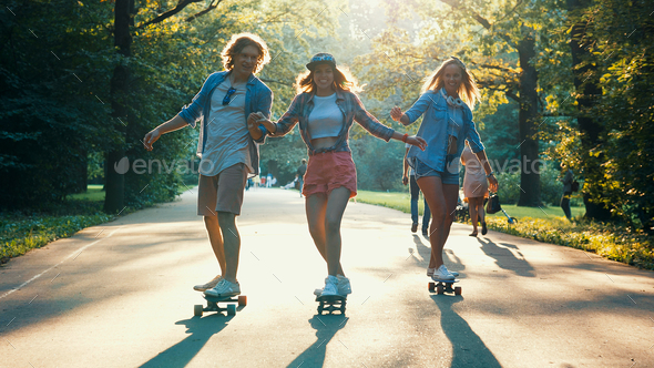 Young skateboarders on vacation - Stock Photo - Images