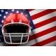 American Football Helmet and US Flag