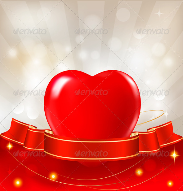 Red Heart Hanging on Ribbon - Valentines Seasons/Holidays