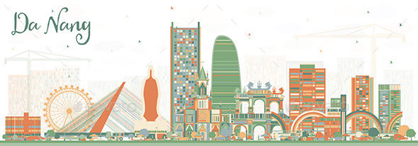 Da Nang Vietnam City Skyline with Color Buildings - Buildings Objects