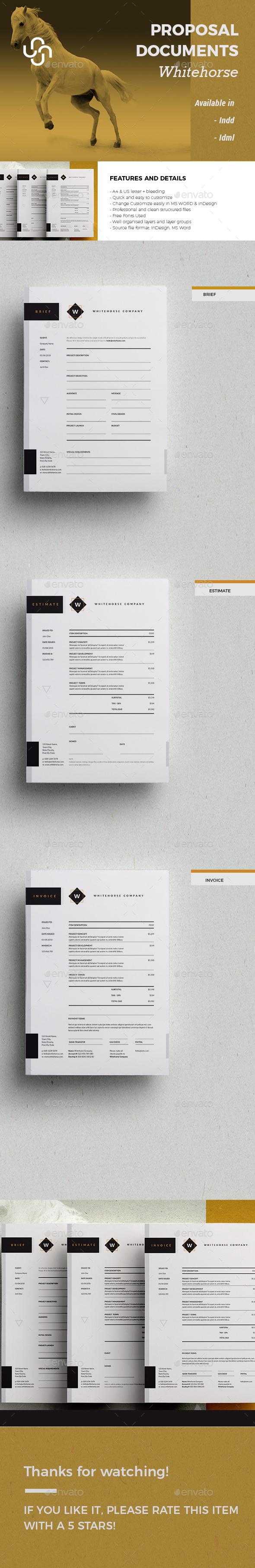 Brief, Estimate and Invoice - Whitehorse - Proposals & Invoices Stationery
