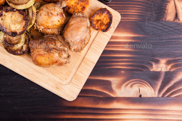 Close up top view of grilled chicken - Stock Photo - Images