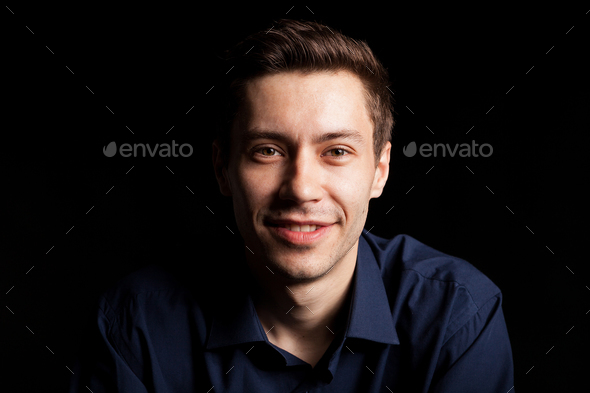Portrait with fashion lighting of young man - Stock Photo - Images