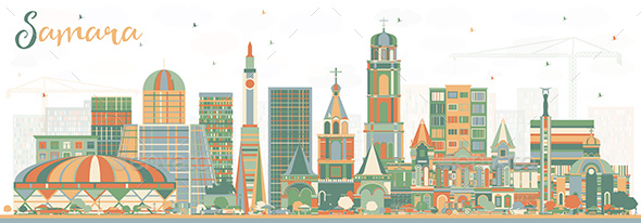 Samara Russia City Skyline with Color Buildings - Buildings Objects