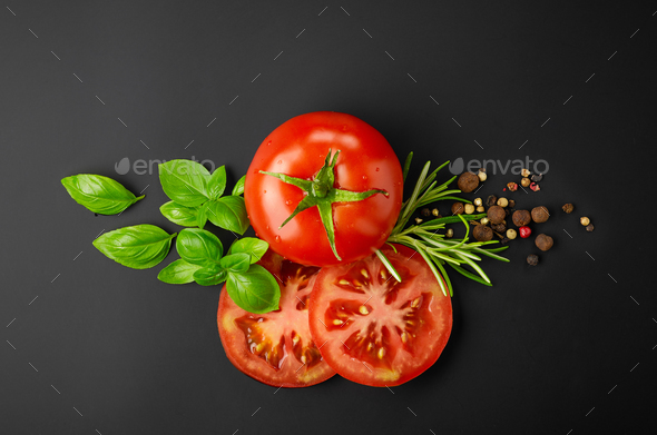 fresh tomatoes and spices - Stock Photo - Images