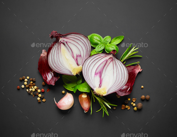 red onion and spices - Stock Photo - Images
