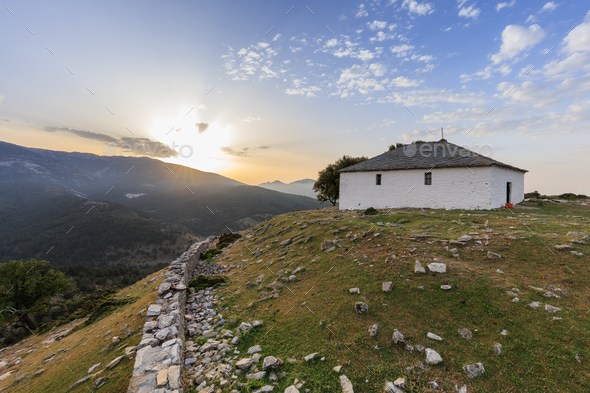 sunrise in Kastro village, Greece - Stock Photo - Images
