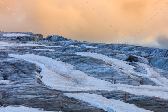 glacier du Tour in sunset. French Alps - Stock Photo - Images
