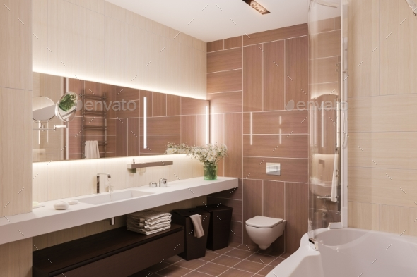 3d Render Interior Design of a Modern Bathroom - Architecture 3D Renders