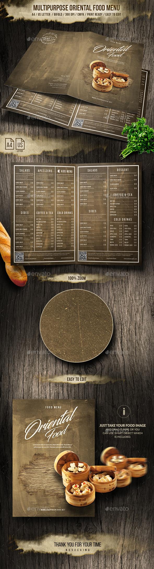 Multipurpose Oriental Bifold Menu - A4 & US Letter - Food Menus Print Templates