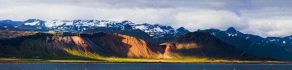 Coastline With Evening Light Panorama, Iceland - Stock Photo - Images
