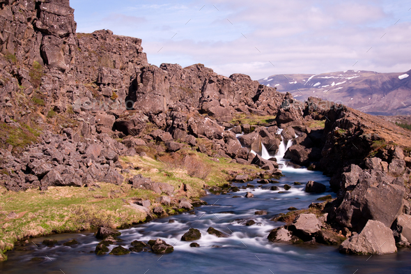 Oexara River In Pingvellir, Iceland - Stock Photo - Images