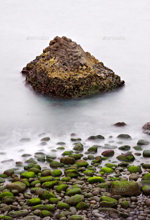 Green Rocks And Basalt Coast, Iceland - Stock Photo - Images