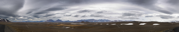 Dark Clouds Above Iceland Panorama - Stock Photo - Images