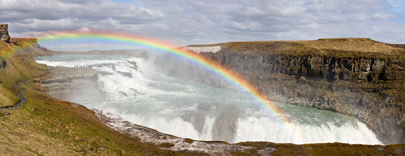 Gullfoss Panorama, Iceland - Stock Photo - Images