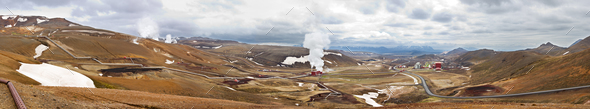 Krafla Geothermal Power Station, Iceland - Stock Photo - Images