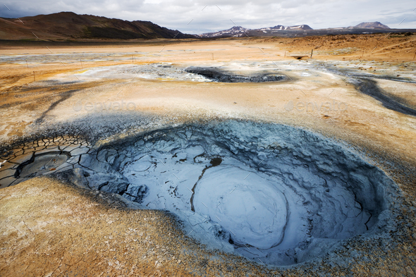 Bubbling Mud Pots, Iceland - Stock Photo - Images