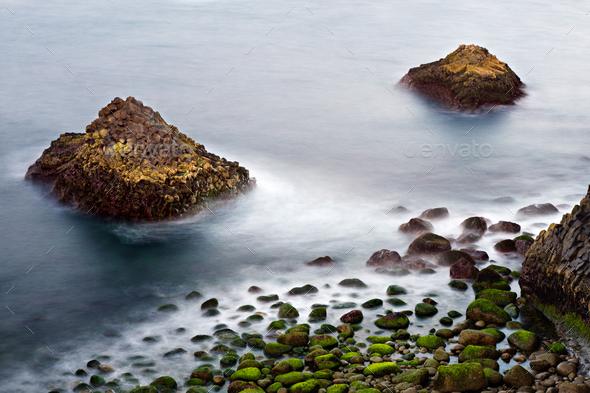 Rock Coastline Long Exposure, Iceland - Stock Photo - Images